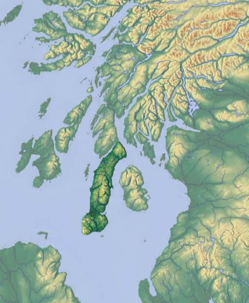 Map of Argyll with Kintyre highlighted centre