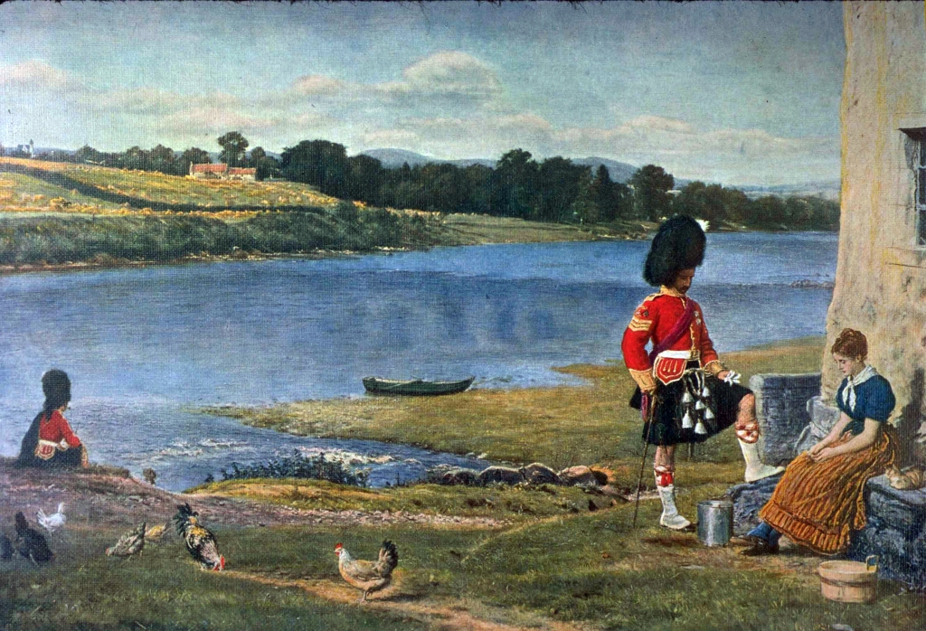 a picture of a painting by John Millais a landscape of a croft, with loch in the background. In the right foreground a Highland soldier pays a visit to a seated woman. Chickens are in the foreground. On the left in the middle distance another soldier, the protagonists friend sits on a rock, looking away