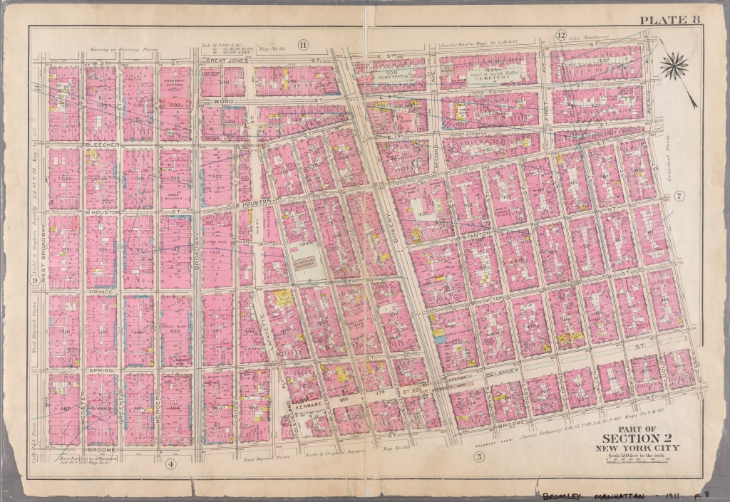 Old style map showing grid of streets in New York