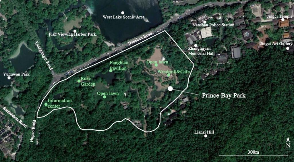 Satellite image of Prince Bay Park in Hangzhou