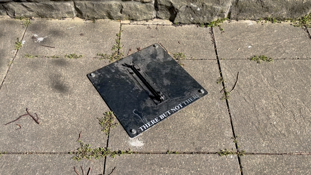 a picture of the pavement with a black metal plate screwed on that says There But Not There in off-white serif capitals