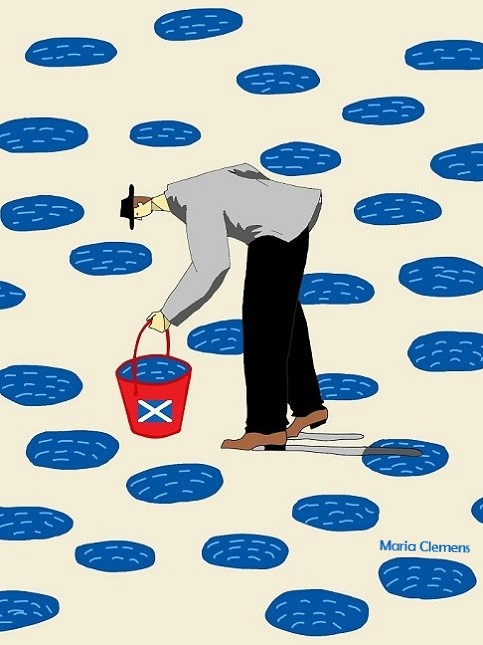 Cartoon man with a red bucket with a Scottish saltire on it, surrounded by puddles of water.